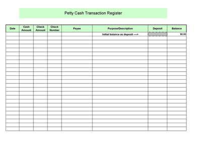 petty cash register template microsoft excel printable