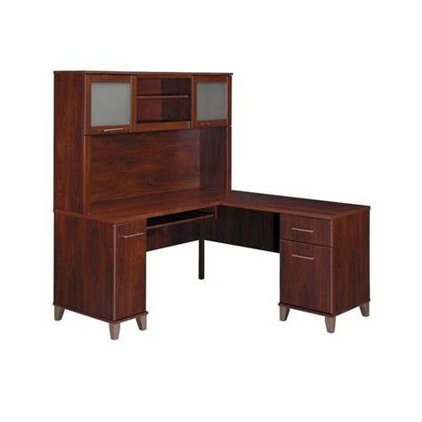 somerset 60 quot l shape computer desk with hutch in hansen