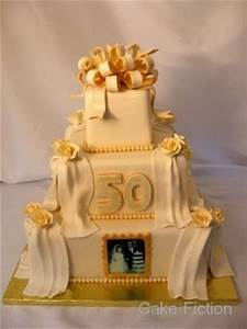 Cake Fiction: Gold and Ivory 50th Wedding Anniversary Cake