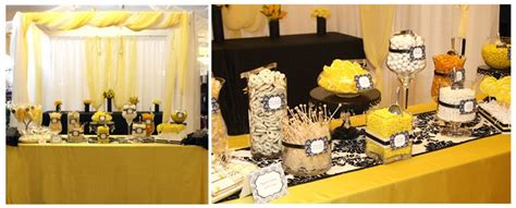 Black White Yellow Dessert Indoor Reception Outdoor