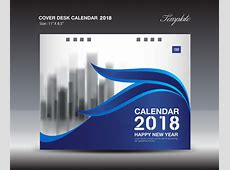 Blue Cover Desk Calendar 2018 template vector material 08