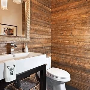 salle de bain vert et bois With bain en bois