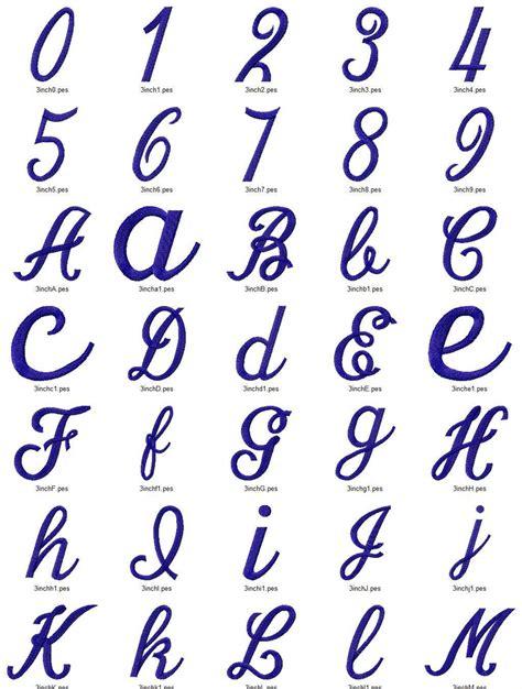 simple script machine embroidery font alphabet  sizes