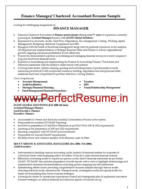 finance manager chartered accountant resume sle