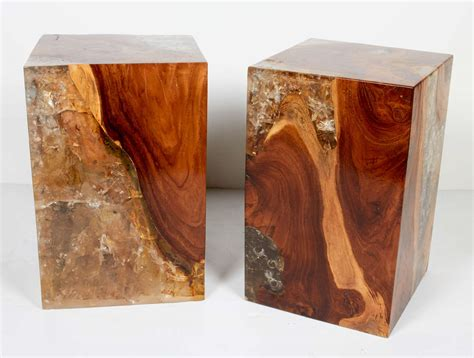 organic resin pair of modern organic teak wood and cracked resin side tables at 1stdibs