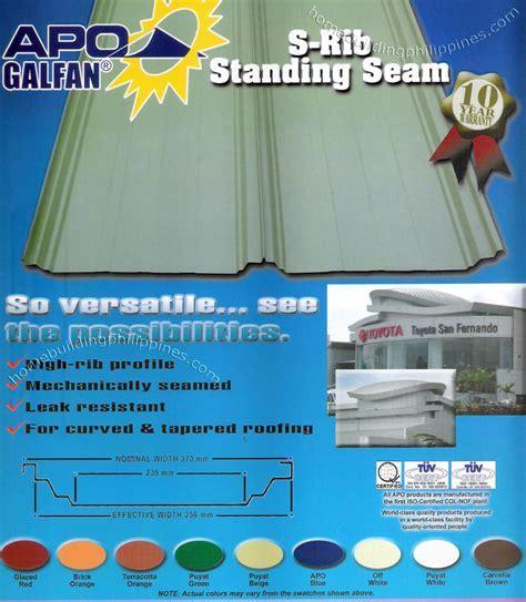 Apo Galfan S Rib Standing Seam Metal Roofing Philippines