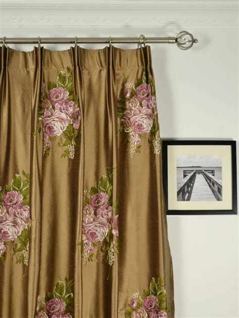 brown embroidered floral pleated dupioni drapes