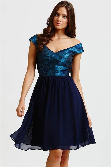 mistress blue watercolour bardot prom dress