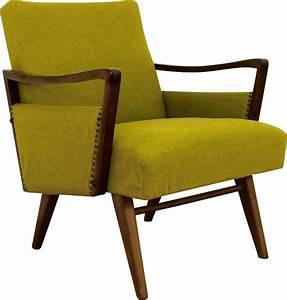Fauteuil Bois Et Tissu : fauteuil vintage en bois et tissu jaune vert 1950 ~ Melissatoandfro.com Idées de Décoration