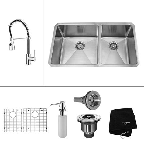 how to install kitchen faucet with undermount sink kraus all in one undermount stainless steel 33 in 60 40 9771