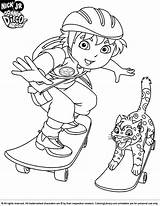 Diego Coloring Go Pages Skateboard Cartoon Printable Dora Colouring Print Drawing Boys Sheets Cool Jaguar Coloringlibrary Baby Characters Looking Explorer sketch template
