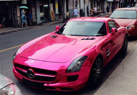 A Hot Pink Mercedes-benz Sls Amg In Shanghai