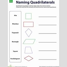 Naming Quadrilaterals  Worksheet Educationcom