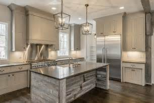 Reclaimed Kitchen Island Reclaimed Barn Wood Kitchen Island With Gray Quartz Countertop Cottage Kitchen