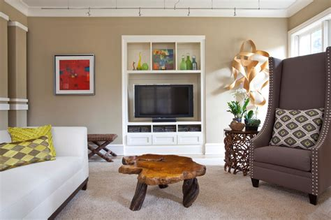 neutral contemporary living room  white entertainment