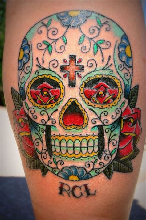 sugar skull tattoo  roses  cross