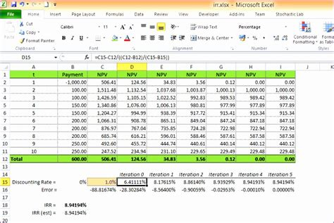 npv irr calculator excel template exceltemplates