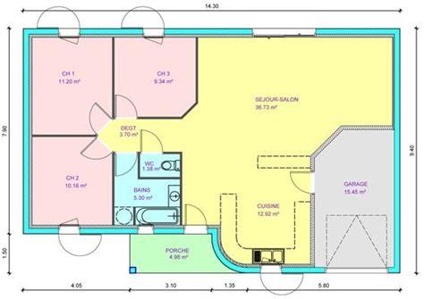 plans maisons plain pied 3 chambres plan de maison plein pied gratuit 3 chambres