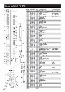 Spare Parts List  Fg 470  Pos  Part No  Pcs  Description