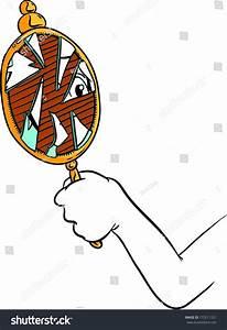 Cartoon Hand Holding Broken Mirror With Shattered ...