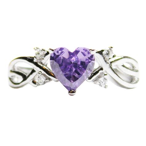 Amethyst (purple) Heart Shaped Promise Ring  Beautiful. Round Cut Sapphire. Silver Anklets. Delicate Chains. Commitment Bands. Swarovski Sapphire. Iphone Watches. Square Shaped Engagement Rings. 6ct Engagement Rings