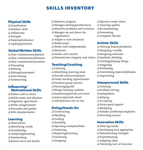 list of key skills exles sle skills inventory template 10 free documents in pdf