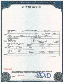 Texas Birth Certificate Form
