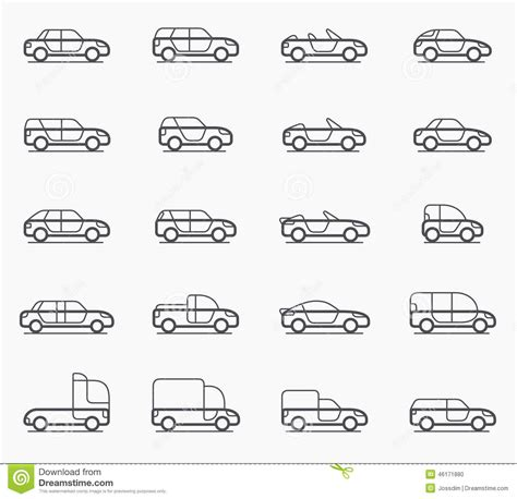 Car Body Types Icons Stock Vector. Illustration Of Door