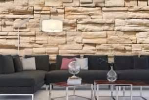wandgestaltung mit steintapete stein tapete wohnzimmer 3d