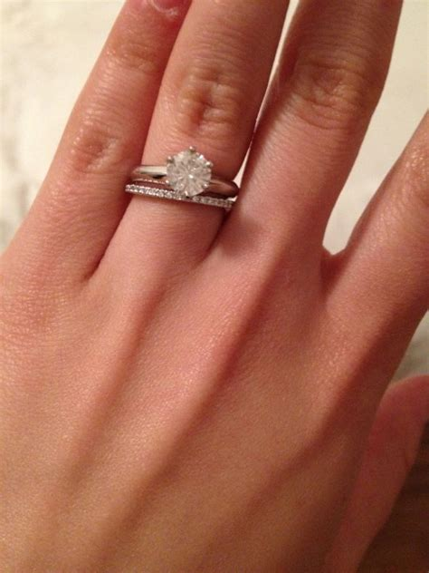 anyone a wide engagement ring band with a thin wedding band