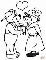 Coloring Couple Bears Printable Valentine Couples Colourings Valentines sketch template