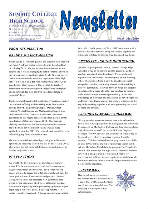 Student Newsletter Templates Free by Awesome School Newsletters Templates High Newsletter Free