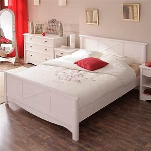 Lit Blanc Adulte : lit adulte 160x200cm charme blanc ~ Teatrodelosmanantiales.com Idées de Décoration