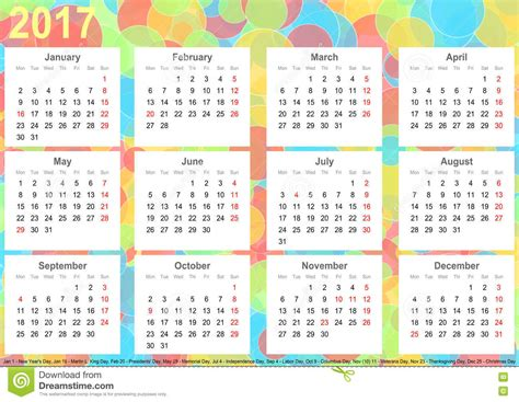 calendar background colorful circles usa stock illustration