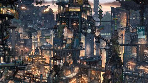 City Anime Wallpaper - anime city scenery wallpaper wallpaperhdc