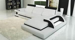 Canape Angle Cuir Blanc : deco in paris canape d angle cuir blanc et noir design avec lumiere ibiza droit ibiza 3 m ~ Teatrodelosmanantiales.com Idées de Décoration