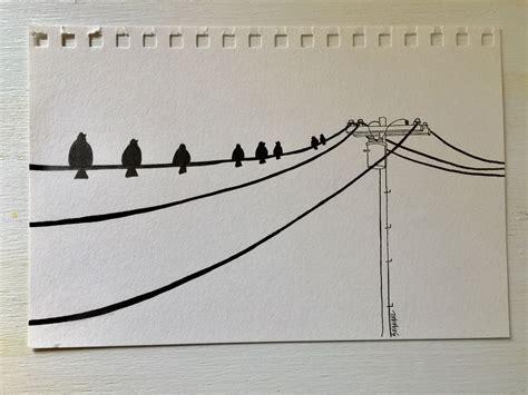 birds   wire sketch telephone pole telephone wire