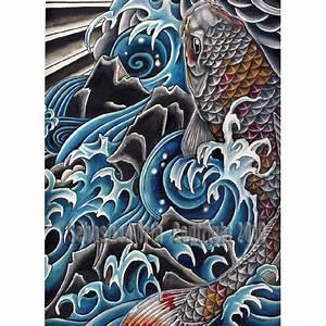 Items similar to Koi in Waterfall art print by Sebastian ...