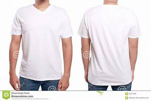 White v neck shirt design template stock photo image for T shirt template with model