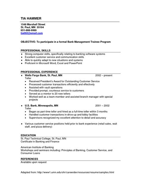 Bank Teller Duties To Put On Resume by Skills To Put On Bank Teller Resume Resumes Exles Best Resume Templates
