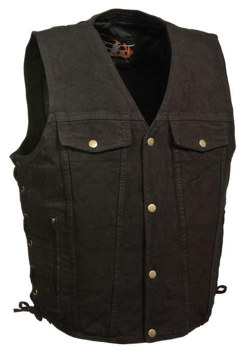 motorcycle vest snap front black denim biker vest with side laces