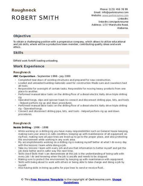roughneck resume samples qwikresume
