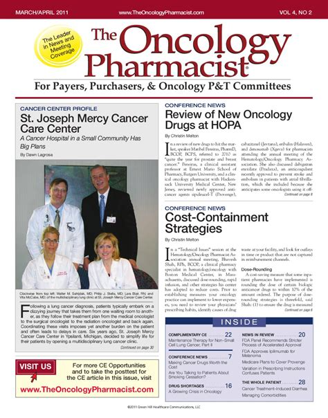 Oncology Pharmacist by March April 2011 Vol 4 No 2 By The Oncology Pharmacist