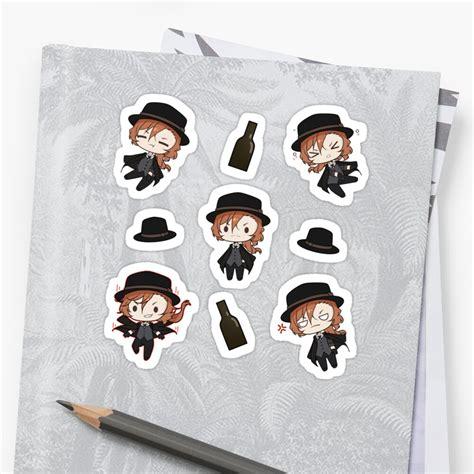 chibi chuuya nakahara sticker by nekojinny redbubble