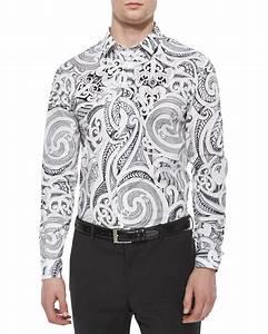 Versace Baroque-print Long-sleeve Shirt in Black for Men ...