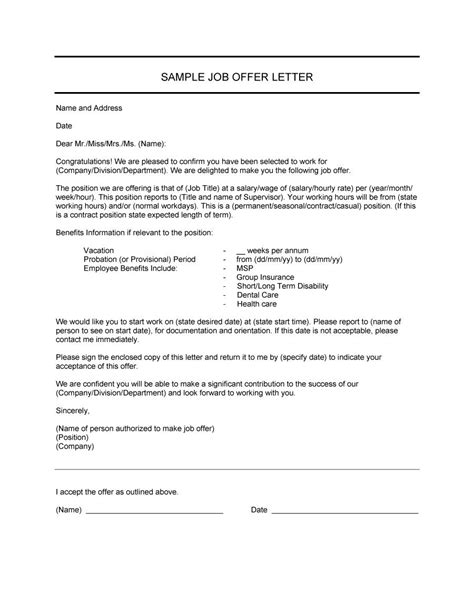 fantastic offer letter templates employment counter