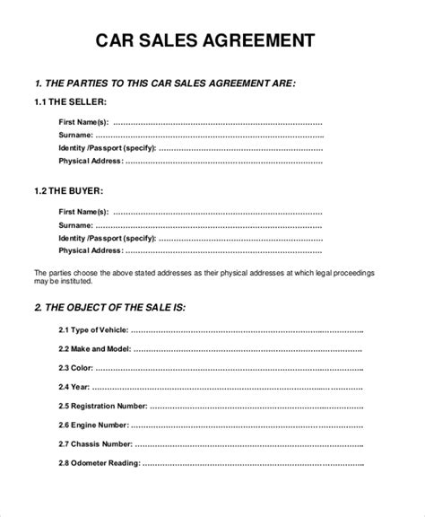 car sale contract template sle sales agreement form 10 free documents in pdf doc