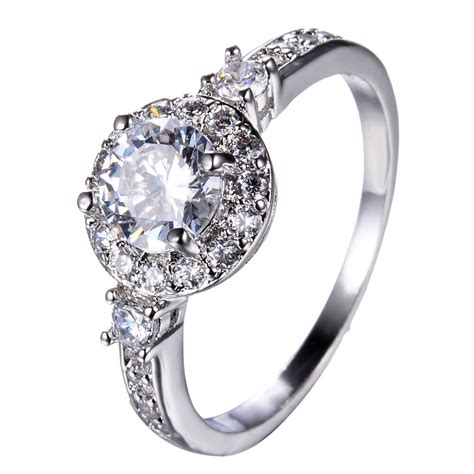 white sapphire silver wedding band ring kt white gold