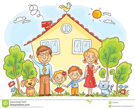 family at the house stock vector image of happy