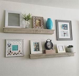 Wall shelves staggered wall shelves staggered wall for Shelf design ideas